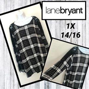 Lane Bryant Black & White Flannel Tunic 1X 14 16